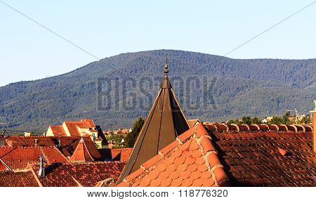 Red roof tops of Obernai, Alsace France