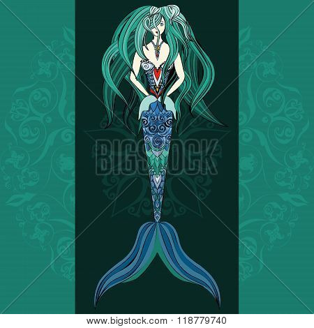 Hand drawn Ornamental Mermaid. Mermaid dark background, Girl with tall in tribal. Doodle Mermaid.  C