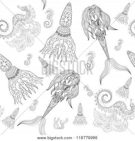 Hand drawn Ornamental Mermaid, sea-horse and calmar, seamless, Mermaid dark pattern, Girl with tall