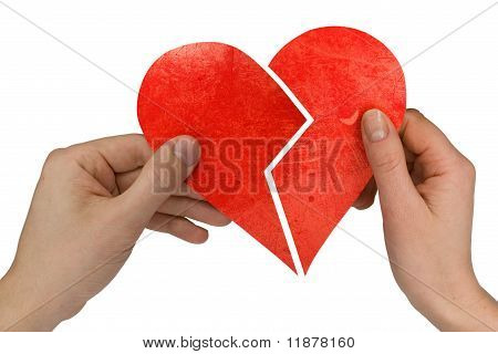 male and female holding broken heart