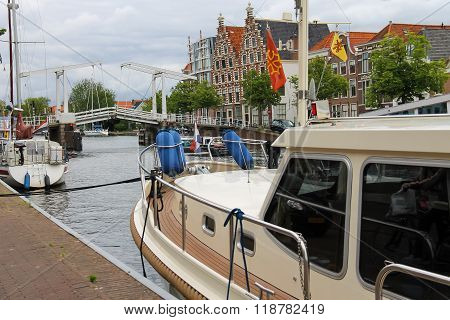 Anchored Yachts Near The Drawbridge In Haarlem, The Netherlands