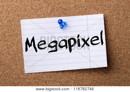 Megapixel - Teared Note Paper Pinned On Bulletin Board
