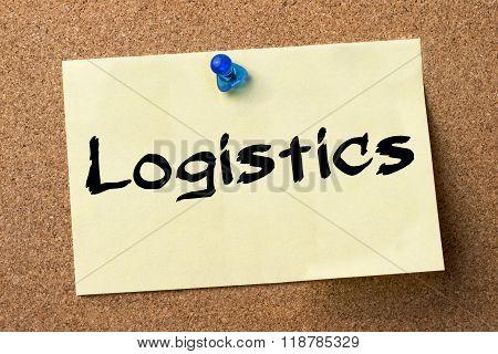 Logistics - Adhesive Label Pinned On Bulletin Board