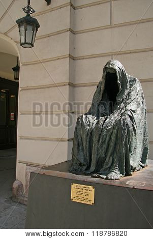 Prague, Czech Republic - April 25, 2010:  Il Commandatore Or Cloak Of Conscience (sculptor Anna Chro