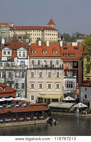 Prague, Czech Republic - April 24, 2013: View Of Buildings In Mala Strana And Prague Castle, Prague,