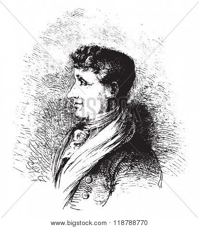 Joseph Joubert. after a lithograph of Vogt, vintage engraved illustration. Magasin Pittoresque 1873.