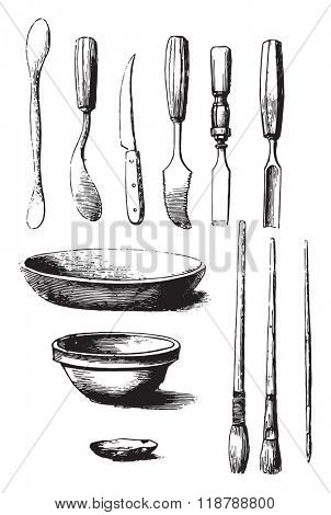 Utensils and tools for molding, vintage engraved illustration. Magasin Pittoresque 1873.