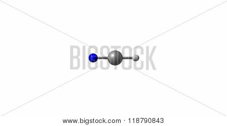 Hydrogen cyanide molecular structure isolated on white