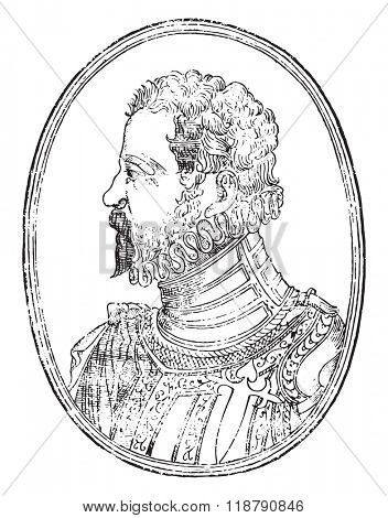 Alonso de Ercilla y Zuniga, author of the poem the Araucana, vintage engraved illustration. Magasin Pittoresque 1877.