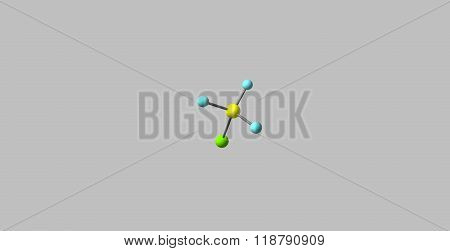 Chloromethane molecular structure isolated on grey