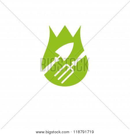 Shovel And Hayfork Garden Tools Company Logo