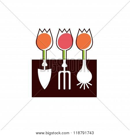Shovel, Hayfork, Bulb And Flowers Garden Tools Company Logo