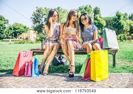 Women Shopping And Looking At Tablet