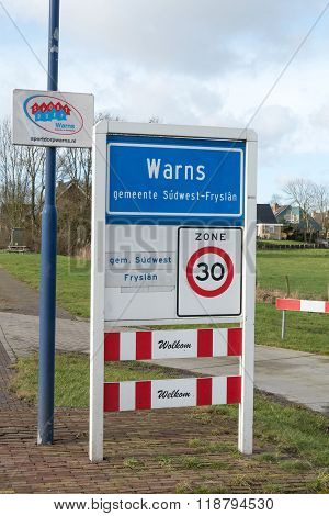 Warns place name a village in South-West Friesland.