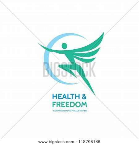 Health & freedom - vector logo template - human with wings. Human logo. Human icon. Human character