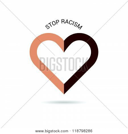 Stop Racism With Heart Illustration