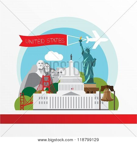 Trendy Illustration Of Usa Landmarks. Capitol , Statue Of Liberty, Golden Gate Bridge, Liberty Bell
