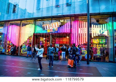 Decorated M&m's World Store At Leicester Square In London