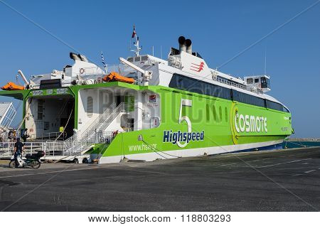 HERAKLION, CRETE, GREECE - AUGUST 12, 2015: HighSpeed 5 ferry is loading at the port of Herklion.