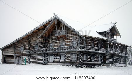 Karelia, Kizhi, Russia - January, 2016: North Russian Wooden Architecture - Open-air Museum Kizhi