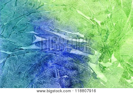 Abstract seamless art hand paint watercolor aquarelle wash drawing arty grunge on blue and green background horizontal picture