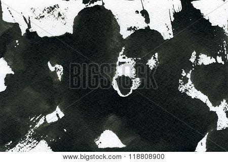 Abstract seamless watercolour aquarelle hand drawn wash drawing arty grunge creative stains blots and blobs black and white on paper texture background horizontal picture