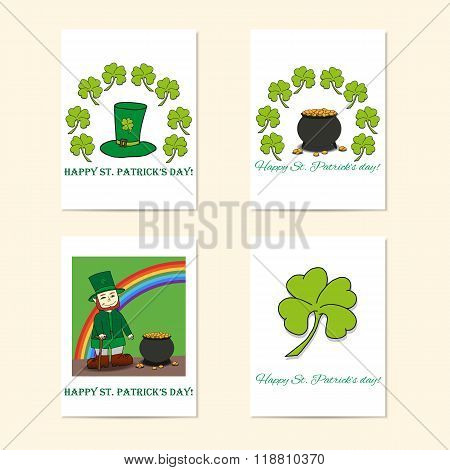 St. Patrick's Day Posters - Leprechaun, Leprechaun's Hat, Pot Of Gold And Clover.