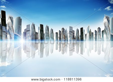 Cityscape with reflexion