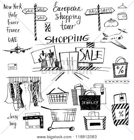 Vector set of hand-drawn for shopping and travel. Discounts, sho