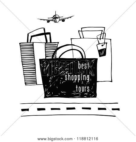 Best  shopping tour design template.  Stylish poster sketch desi