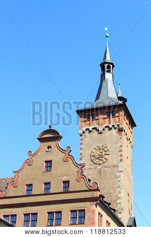 Tower of Old townhall Grafeneckart in Wurzburg Germany
