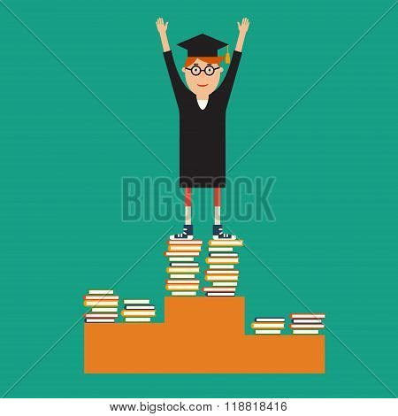 Graduate glasses, robes and a hat standing on the top step of t
