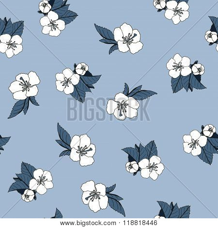 seamless background with hand drawn cherry blossom