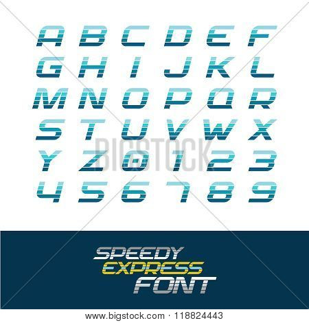 Sport Font. Dynamic Motion Italic Letters And Numbers With Horizontal Division Lines. Fast Speed Con