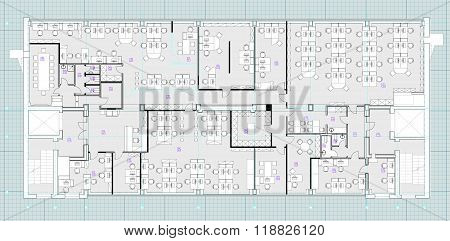 Standard office furniture symbols on floor plans