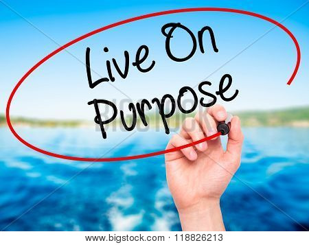 Man Hand Writing Live On Purpose  With Black Marker On Visual Screen