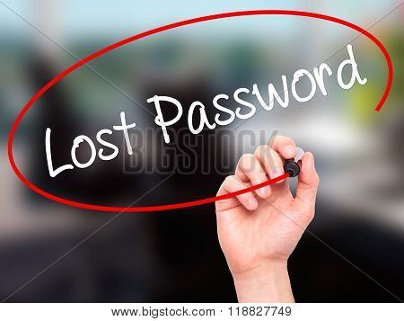 Man Hand Writing Lost Password  With Black Marker On Visual Screen