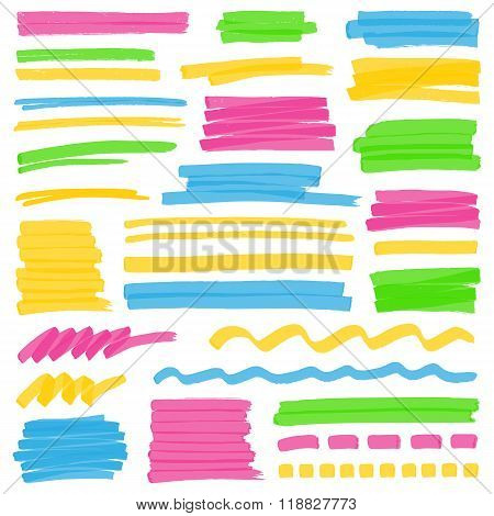 Set of hand drawn colorful highlighter stripes strokes and marks. Can be used for text highlighting marking or coloring in your designs. Optimized for one click color changes. Transparent colors EPS10 vector. poster