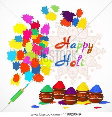 Happy Holi Greeting Card With Color Splashes,  Pichkari And Mandala . Vector Illustration.