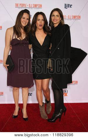 LOS ANGELES - JAN 27:  Carla Gallo, Elizabeth Reaser, Amanda Peet at the American Crime Story - The People V. O.J. Simpson Premiere at the Village Theater on January 27, 2016 in Westwood, CA