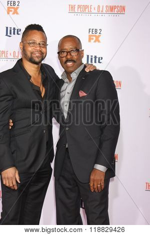 LOS ANGELES - JAN 27:  Cuba Gooding Jr, Courtney B Vance at the American Crime Story - The People V. O.J. Simpson Premiere at the Village Theater on January 27, 2016 in Westwood, CA