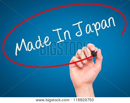 Man Hand Writing Made In Japan With Black Marker On Visual Screen