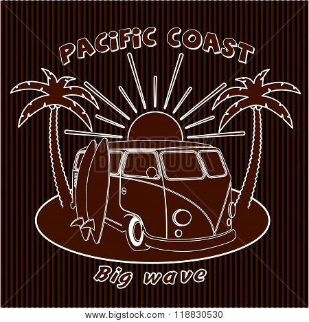 Badge Old Car Trip To The Ocean, Surfing, Sports, Board, Vector Illustration.