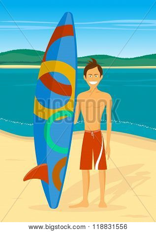 Cheerful Surfer On Sea Background