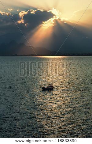 Ship In Antalya Bay At Sunset