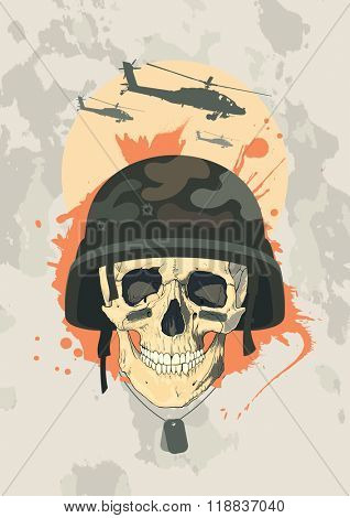 Military design template with human skull of a soldier, rasterized version