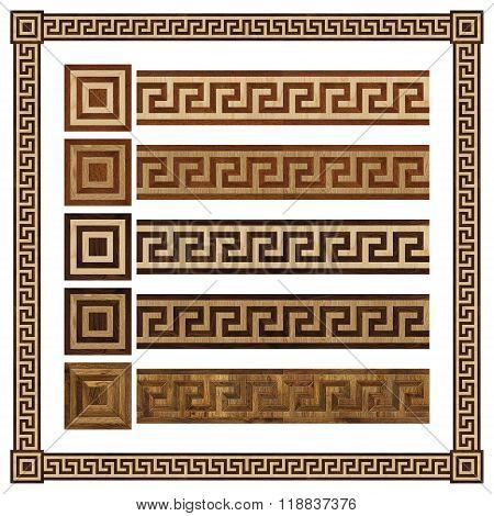 Wooden border ornament meandr design parquet floor seamless texture poster
