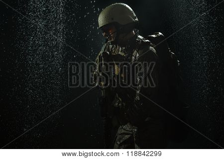 US Army soldier in the rain