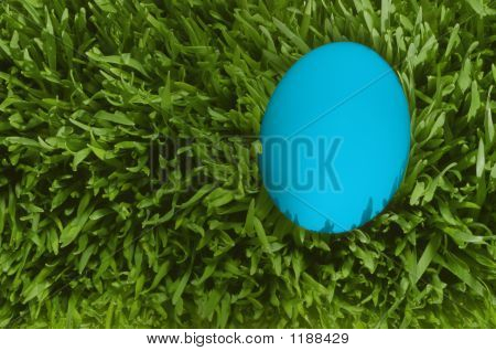 A Detailed Close Up Of A Blue Egg, Nestled In The Green Grass