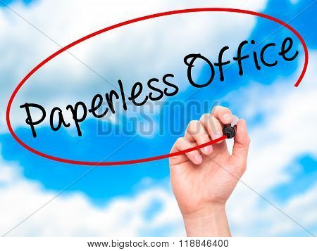 Man Hand Writing Paperless Office  With Black Marker On Visual Screen